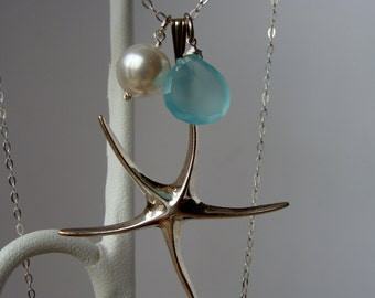 Starfish Aqua Blue Chalcedony Sterling Silver Beach Necklace