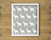 Woodland printable art - Deer art print in white and grey - Stag, antler, elk moose, wall decor, nursery - 8x10 artwork, illustration