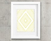 Geometric Diamond Printable Art Poster - Mustard Yellow and White Wall Decor, Office - 8x10 & 11x14 Illustration - Colorful and Modern Decor
