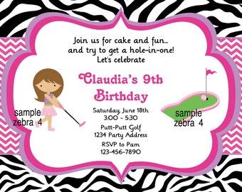 Mini Golf Invitation Putt Putt Birthday Party Invite Chevron Zebra Digital JPEG File #4