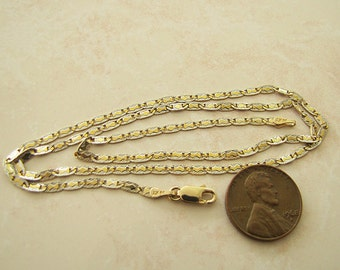 Fancy 14K Gold Chain Necklace, 18 inches long, two tones, detail etched pattern