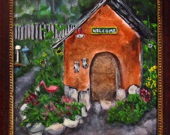 """Framed """"Green Spring Gardens"""" Acrylic Painting... 8x10 Ready-to-Hang Art by Jo Ann"""