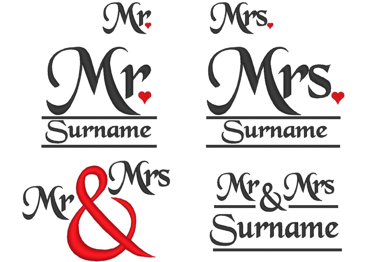Mrs Mrs Wedding Gifts: Mr And Mrs Wedding Gifts Monogramming Set Machine Embroidery