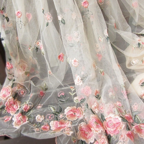 Sale Gorgeours Lace Fabric Pink Flower Embroidered Tulle