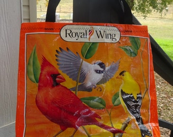 Large Upcycled Feed Bag Tote, Bird Lover's Tote, Carry-All with Easy-Carry Nylon Web Handles, Charity Bag, Machine Washable, Beach, Gym Bag