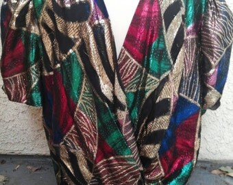 1980s Lurex Metallic Multi-Colored Boho Blouse/Cardigan Sz S/M
