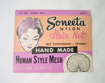 Vintage Soneeta Nylon Hair Net Hand Made No 495 Double Bob Gray In Original Package NOS