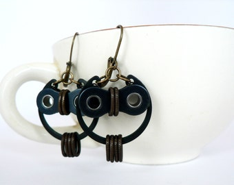 Bicycle Owl Earrings Bronze & Black