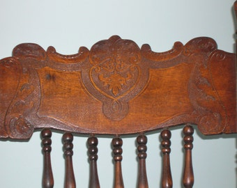 Antique Carved Rocking Chair with Cane Seat