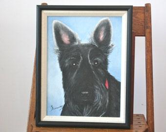 Vintage Scottish Terrier Oil Portrait: Original Art