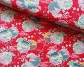Japanese Fabric Cotton Yuwa - Japanese Flower Red - a yard