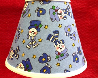 Snowman Face Mittens Chandelier Lampshade Battery Operated Electric Candle Lamp Shade