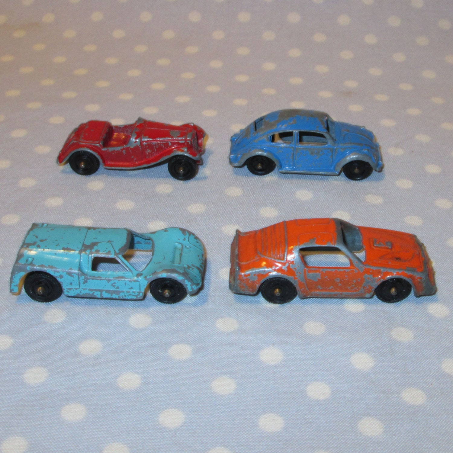 Set Of 4 Vintage Tootsie Toy Cars Ford GT Pontiac By