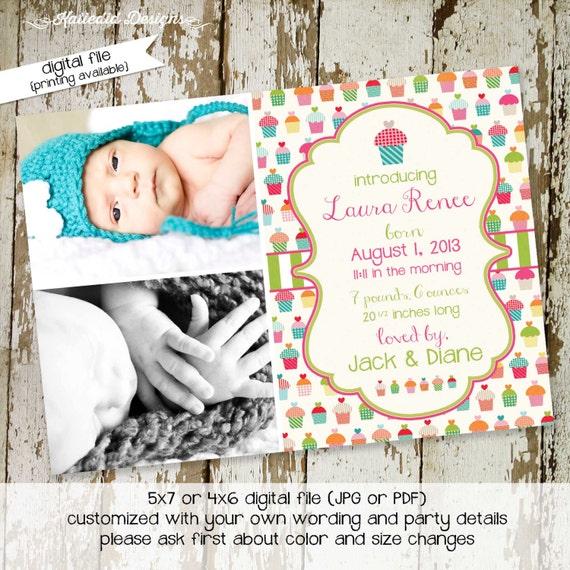 girl birth announcement cupcake baby girl shower birthday graduation sprinkle couples ultrasound diaper (item 402) shabby chic invitations
