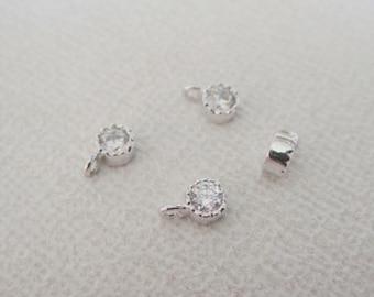 Jewelry Supplies, Silver Cubic zirconium crystal drop, Charm, Pendant, 4 pc,  PS7374