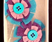 Blue & Purple Felt Flower Hair Pins