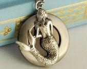 Silver Mermaid Locket Necklace, ocean beach fantasy pendant photo, Birthday Mother's Day Anniversary Graduation Gift