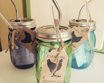 Mason Jar- 1 Pint COLORED Farm Girl Drinking Jar with Stainless Straw