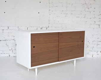 "50"" Mid Century Modern Inspired Petite Sideboard // Credenza // Bar or Record Cabinet - Painted White"