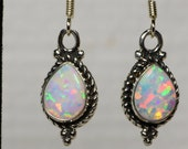 Opal Earrings Dangle Earrings Birthstone For October Rose Gold Jewelry Opal Dangle Earrings