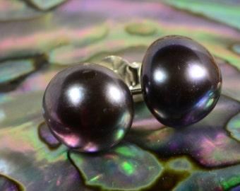 Black Pearl 9.3mm Earrings Sterling Silver Jewelry Black Pearl Jewelry Handmade Jewelry
