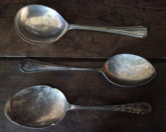 Vintage English Silver Plated Large Flat Mixed Set of Serving Spoons circa 1900-20's / English Shop