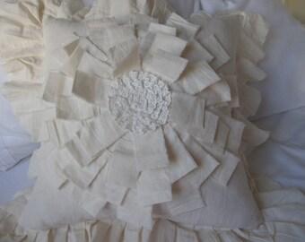 Flower pillows - Dahlia flower Lace ruffle pillow cover, ivory Linen euro sham pillow- frayed edge -Bohemian bedding decorative pillow couch
