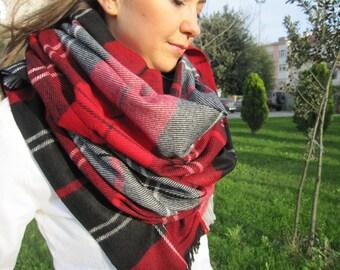 Tartan plaid blanket scarf/oversized/red black gray plaid scarf/Turkish shawl scarf /2015 fashion trends woman accessories man-FAST shipping
