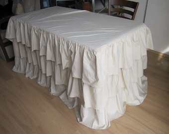 Fitted Wedding tablecloth -Waterfall 3 tiers/3 row ruffled tablecloth cotton fabric /custom color tablecloth-round fitted -rectangle square