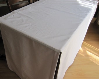 fitted split corner table cloth custom color tablecloth Cream ecru or white duck linen - wholesale party table decor Nurdanceyiz