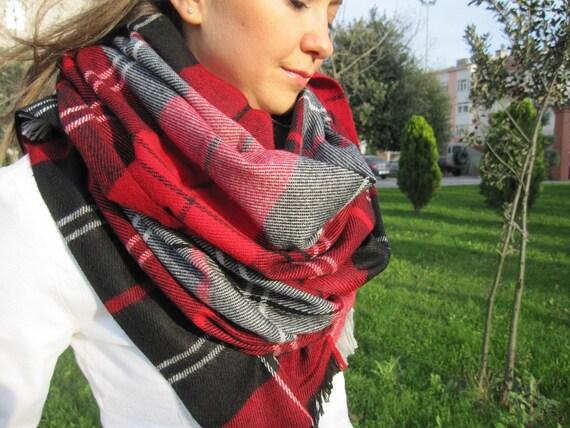 Tartan plaid couverture charpe oversize rouge noir foulard - Echarpe plaid femme ...