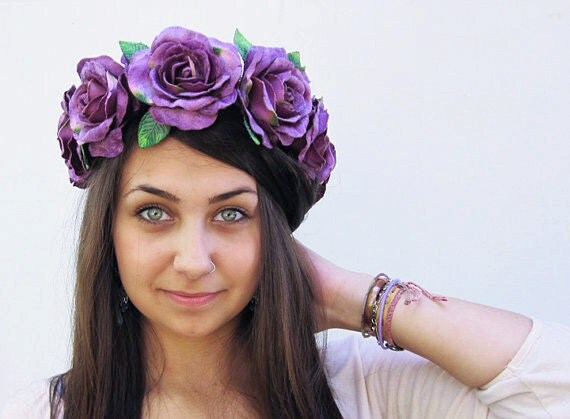 Purple Velvet Rose Crown, Lavender Rose Crown, Flower Crown, Festival Clothing, Boho, Purple Flower Crown, Large Floral Crown, Rose Crown