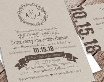 Printable Wedding Invitation Package  - Kraft