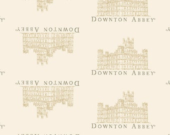 """End of Bolt 14.5"""" of Downton Abbey SMALL Portrait Fabric in Cream by Andover"""