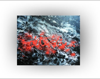 Abstract Painting Original Painting Palette Knife Original Landscape Painting Art by Skye Taylor 30 x 24 Black And Red Original Abstract