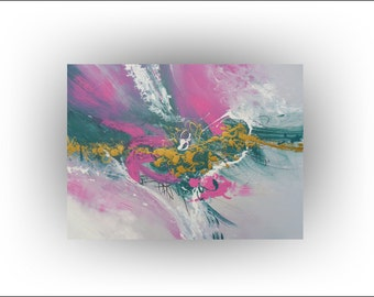 LARGE Turquoise Pink Painting - 30 x 40  - Skye Taylor