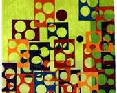 Modern Art Quilt , Window Spots , Quilted Wall Hanging , Vibrant Green