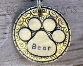 Dog Tag - Dog ID Tag - Pet Tag - Dog Tags Custom- Fancy Paw Print