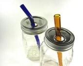 Mason Jar To Go Cup 32oz with Customized Glass Smoothie Straw