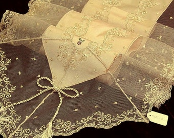 Silk table Runner luxury shabby chic with French Lace and Swarovski crystals rich wedding cake table decoration quality ecru table overlay