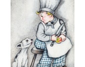 Dog Boy Card | Young Chef with Puppy Greeting Card | Foodie Card