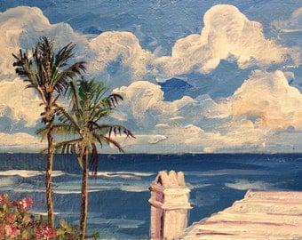 Bermuda Scenery white roof seascape  original painting 4 x 6''