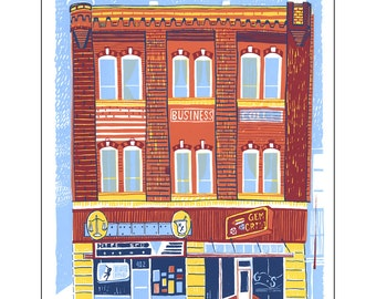 Screenprint of Shields Building North / Hyperspud / Gem State Crystals on Main Street in Moscow, ID