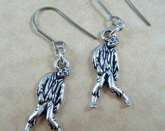 Zombie Earrings ~ Inspired by the Walking Dead ~ Silver Zombie Apocalypse Earrings