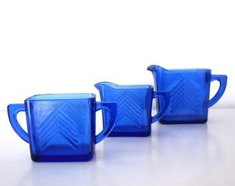 Vintage Blue Glass Chevron Creamer, Sugar, Milk Pitcher Set, Hazel Atlas Depression Era Glass