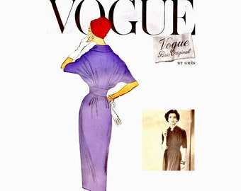 Vogue Paris Original Designer Pattern by Gres 1950s Sheath Dress with Wide Waist Band and Kimono Sleeves Bust 34 Size 14 Vogue 1351 Vintage
