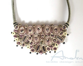 Statement necklace pink, bib necklace, textile necklace from Cloud Design Collection - Handmade textile jewelry OOAK for order