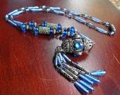 Neiger Czech Nouveau Sapphire necklace  Czech Deco Egyptian necklace  Silver filigree lantern necklace