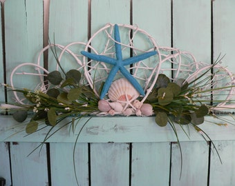 Beachy Wall Decoration with Large Turquoise Starfish-Beachy Wreaths by Annie Gray-Vintage Wicker Wall Hanging