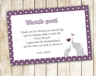 Elephant Thank You Note Card - Purple Grey Polka Dots Baby Girl Shower Notes Printable Personalized